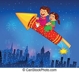 celebrar, diwali, el gozar, petardo, niños