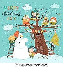 celebrar, feliz, niños, navidad