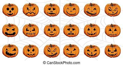 celebrar, feriado, conjunto, halloween, calabazas