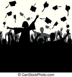 celebrar, graduación, concepto