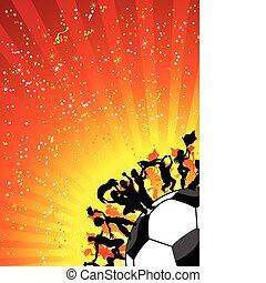 celebrar, inmenso, futbol, multitud, game.