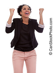 celebrar, mujer, apretado, norteamericano, puños, africano, éxito