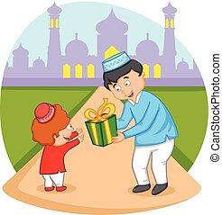 celebrar, musulmán, eid, familia , feliz