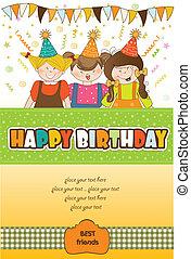 celebrar, niños, fiesta de cumpleaños
