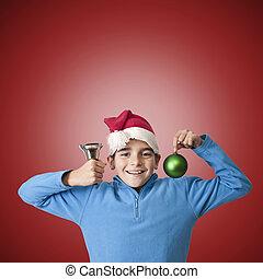 celebrar, niños, navidad