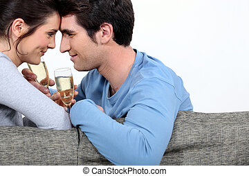 celebrar, pareja, acontecimiento, especial