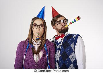celebrar, pareja, encima de cierre