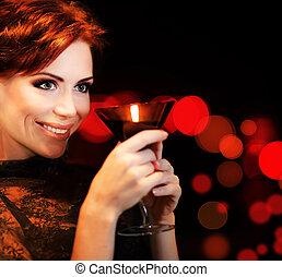 celebrar, partying, hembra, feriado, hermoso