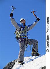 celebrar, pico, hombre, joven, nevoso