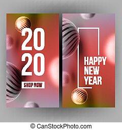 celebrar, vector, 2020, invitación, poste, navidad, tarjeta