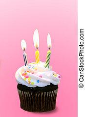 Celebrate a Pink Birthday - Chocolate Cupcake With Burning...