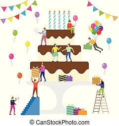 celebrate., anniversaire, partie., gens
