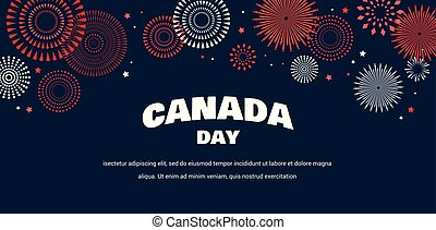 Celebrate banner of the national day of Canada. Happy independence day card.