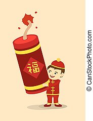 Celebrate Chinese New Year with Giant Fire Cracker - Vector...