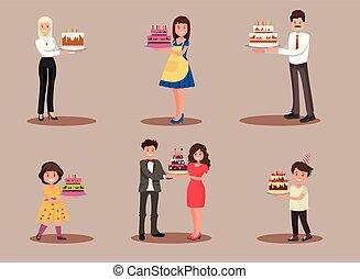 celebrate., jogo, caráteres, escritório, dona de casa, trabalhador, homem negócios, crianças, cake.