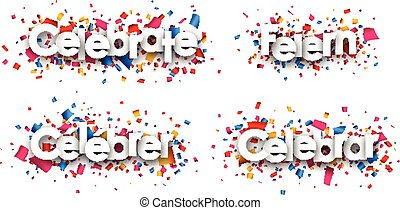 Celebrate paper banners. - Celebrate paper banners with...