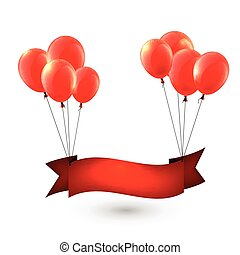 Celebrate red ribbon background with balloons.
