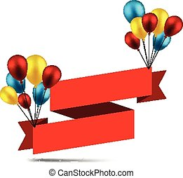 Celebrate ribbon background with balloons.