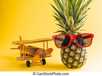 pineapple in sunglasses stands with a model plane