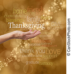Golden bokeh background with a string of glittery sparkles and a female hand outstretched with a white 'Thanksgiving' word floating above with thanksgiving related words above and below