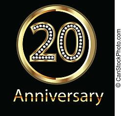celebrati, cumpleaños, aniversario, 20