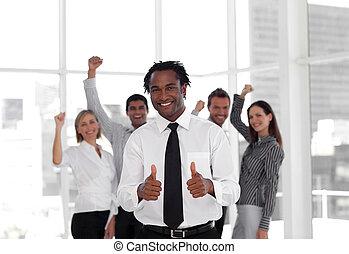 celebrating, бизнес, успех, команда