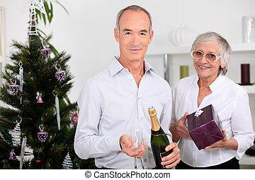 celebrating, пара, пожилой, вместе, рождество