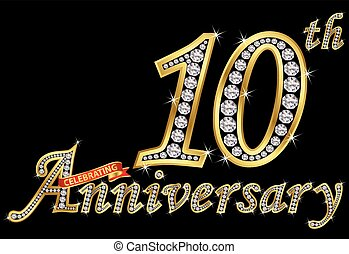 Celebrating  10th anniversary golden sign with diamonds, vector illustration