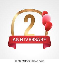 Celebrating 2 years anniversary golden label with ribbon and balloons, vector template