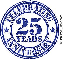 Celebrating 25 years anniversary grunge rubber stamp, vector...