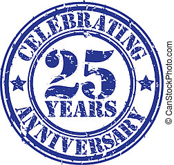 Celebrating 25 years anniversary grunge rubber stamp, vector...