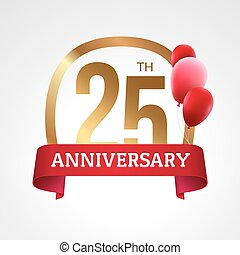Celebrating 25th years anniversary golden label with ribbon and balloons, vector template