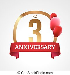 Celebrating 3rd years anniversary golden label with ribbon and balloons, vector template
