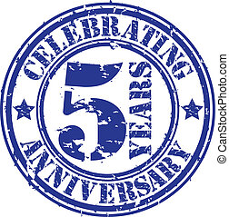 Celebrating 5 years anniversary grunge rubber stamp, vector...