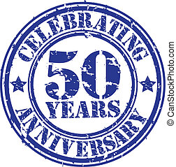 Celebrating 50 years anniversary grunge rubber stamp, vector...