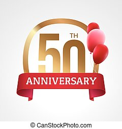 Celebrating 50th years anniversary golden label with ribbon and balloons, vector template
