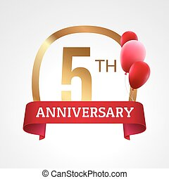 Celebrating 5th years anniversary golden label with ribbon and balloons, vector template