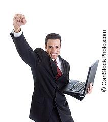 Celebrating Caucasian Man Suit Holding Laptop Isolated White Background