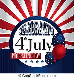celebrating fourth july over flag background vector...