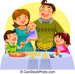 celebrating hanukah - happy family celebrating Hanukah