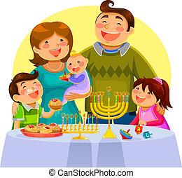 celebrating hanukah - happy family celebrating Hanukah