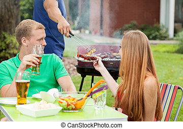 Celebrating holidays on a barbecue