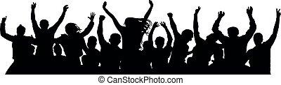 celebrating., mensen, vrolijk, silhouette, alleen, afwerpen...