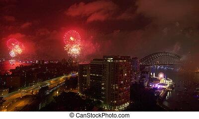 Celebrating NYE in Australia - An extreme high angle wide...