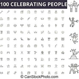 Celebrating people line icons, signs, vector set, outline illustration concept