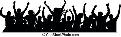 celebrating., persone, allegro, silhouette, solo, separato, ...