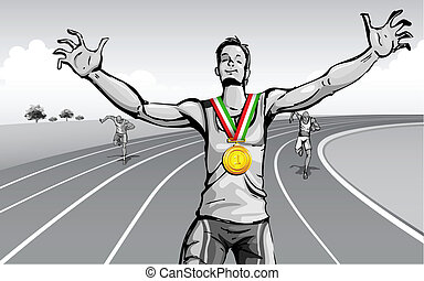 Celebrating Victory - illustration of winner celebrating ...