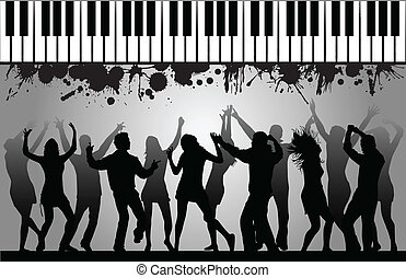 celebrating young men-silhouette vector
