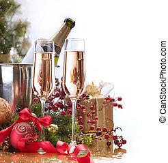 celebration., új, pezsgő, év