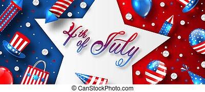 celebration., 天, 獨立, 美國, 七月, 卡片, 第4, 美國人, 促進, 做廣告, 樣板